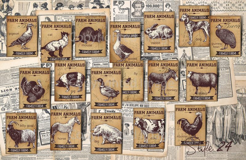 Vintage Farm animals Collection Ephemera Scrapbook Digital Collage