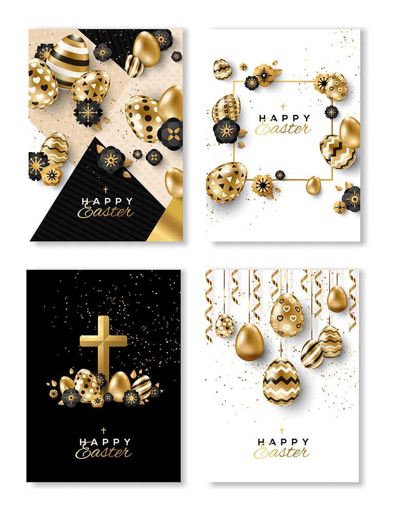 Easter Cards Black and Gold