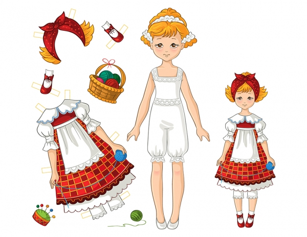 Paper Doll Girl Set no 3