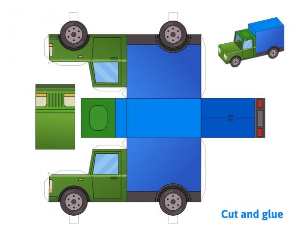 Cargo truck paper model