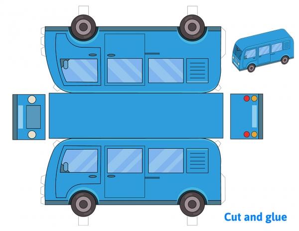 Blue minibus paper model