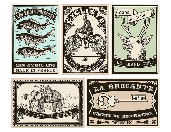 Retro French Scrapbooking Embellishments