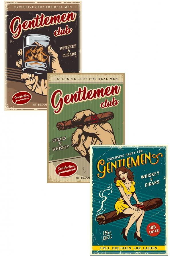 Printable Vintage men's club colorful posters set