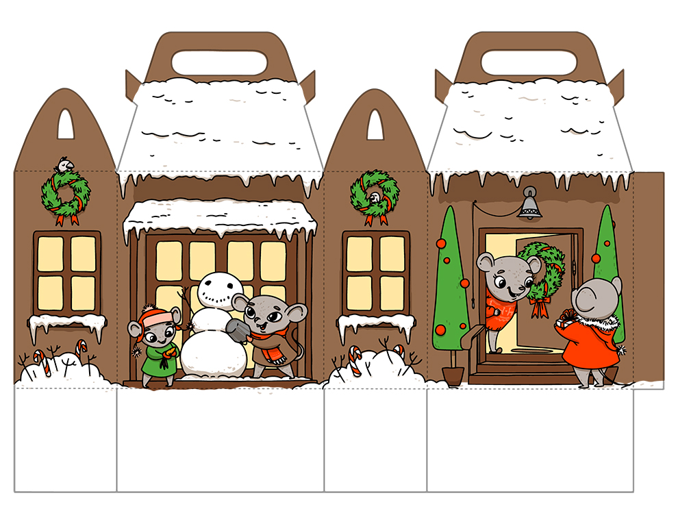 Printable gift house with happy holiday rats.
