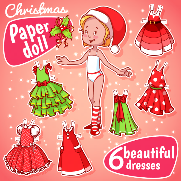 Christmas paper doll with six dresses