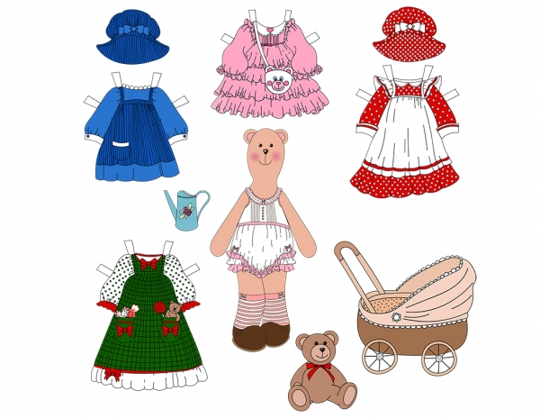 Set Toy Teddy Bear with Clothes