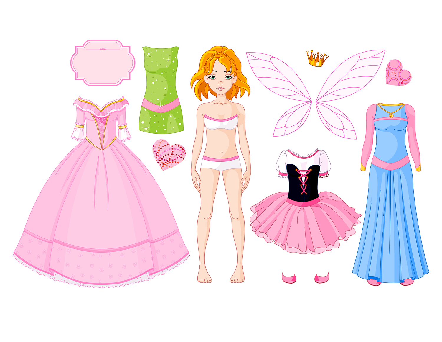 Paper Doll Girl with different princess dresses