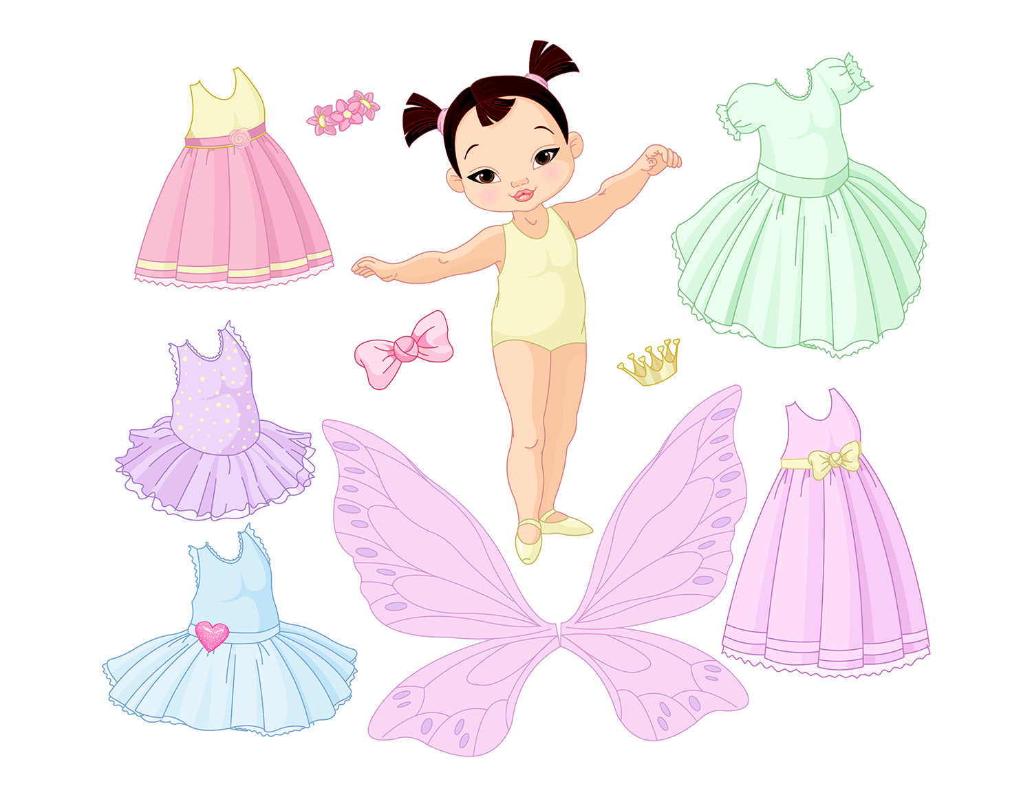 Paper Baby Girl with Different Fairy, Ballet and Princess Dresses